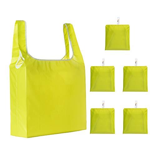 U Chef juego de 5 bolsas reciclables ecológicas plegables extra grandes con gran capacidad para frutas, verduras y despensa. Eco friendly, reutilizables, tamaño 63x38 cm (Amarillo Verdoso)