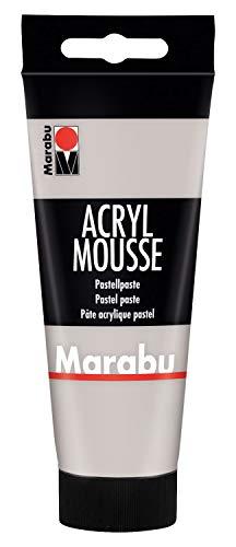 Marabu 12050050278 - Acryl Mousse hellgrau 100 ml, leichte Pastell - Acrylpaste auf Wasserbasis, luftige Konsistenz, zum Auftrag mit Malmesser und Pinsel auf Keilrahmen, Holz, Papier und Metall