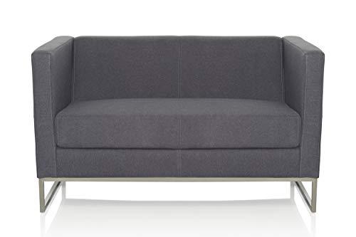 hjh OFFICE 713502 Lounge Sofa Barbados Stoff Grau Moderne 2-Sitzer Couch für höchsten Sitzkomfort