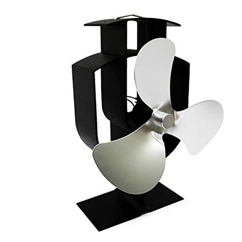 Ventilador para chimenea Aleación de aluminio de 3 cuchillas - Ventilador silencioso de energía térmica / quemador de leña - Ciclo térmico ambiental para chimenea (tamaño: 135 * 103 * 197 mm) 0.52kg