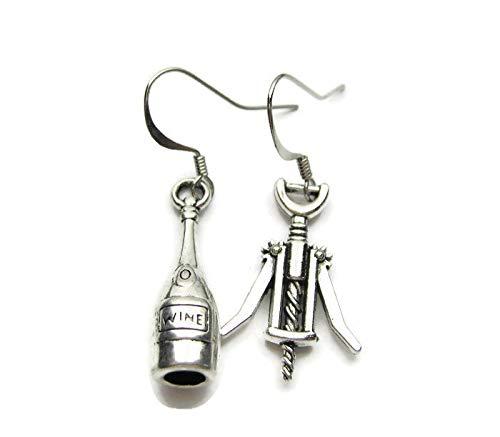Silver Knight Pendientes de plata tibetana con forma de botella de vino y sacacorchos en ganchos de plata de ley