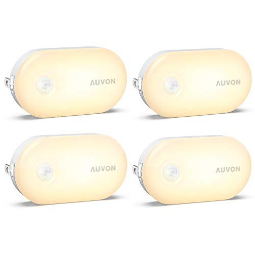 AUVON Bright Motion Sensor Night Light Plug in 120 Lumens Dimmable Smart LED Nightlight Plug Into Wall with 1lm to 120lm Brightness for Bathroom Hallway Kitchen Garage Toilet 4 Pack