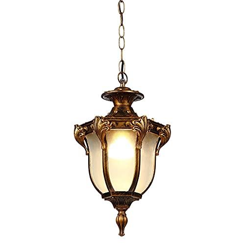 IP44 Industria Retro Colgante Lámpara de Colgante Aparato Afilado Oxidado Aluminio Colgante Luz Ajustable Drop Light Lintura Linterna de Vidrio Linterna Impermeable Patio Gazebo Comunidad Chandelier E