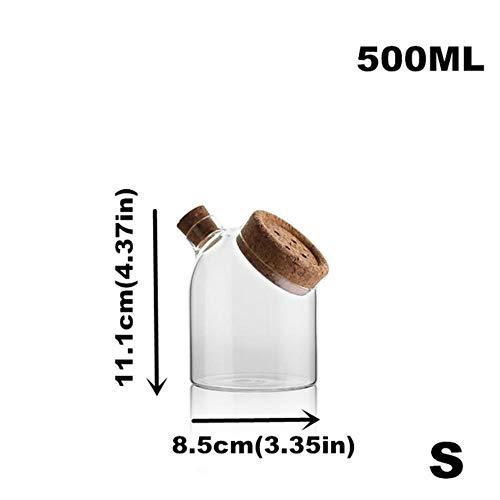 FORHOME Spice voedsel glazen potten opslag containers tank met kurk deksel voor bulk product koffie behoud keuken Organizer 500mlflat