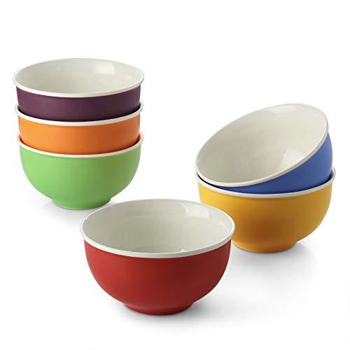 LIFVER Cereal Bowls Set of 6, Soup Bowls 24 Ounces Porcelain, Extra Deep Cereal Bowls, Microwave and Dishwasher Safe, Ceramic Ramen Bowl, Bowl Set Assortment for Salad, 5.75 Inches, Multicolour