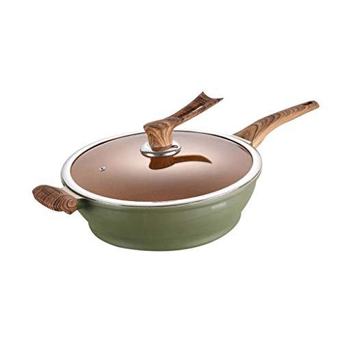 YUTRD ZCJUX Wok - Antiaderente Stir Fry Pan, di Marmo Verde Modello, Wokwith Coperchio e bachelite Maniglia Adatto a Tutti i Tipi Hob