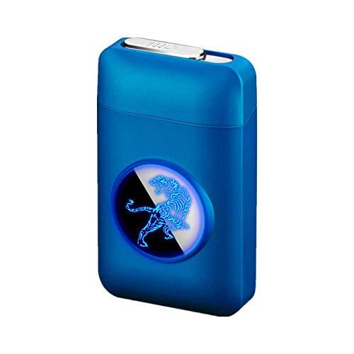 Zigarettenetui mit Feuerzeug, LED Grafik-Zigaretten-Etui, 2-in-1 Portable Elektronisches Lighter Flammenlose Aufladbar Zigarettenschachtel, Elegante Entwurf Feuerzeug Aufladbar Blau des Tigers