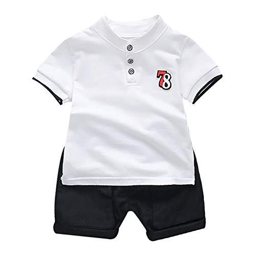 Gyratedream Baby Jongens Zomer Korte Mouwen Bomen Print Tops Blouse T-Shirt+Shorts Outfits Sets voor 0 tot 4 Jaar Oud, 95% Katoen+5% Spandex