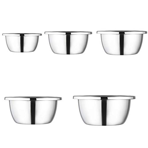 Larew Stainless Steel Non-Slip Mixing Bowl Silicone Using as Egg Bowl Salad Bowl Mixing Wash Bowl Beating and Storaging Food
