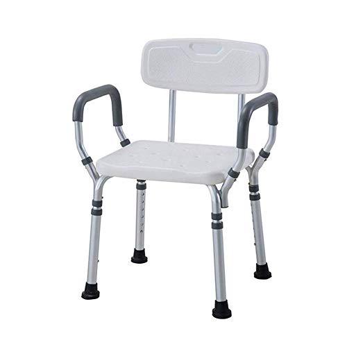 LHQ-HQ Banco de ducha ajustable, silla de baño Asiento de ducha con reposabrazos, respaldo Soporte de baño antideslizante para mujeres embarazadas Niños Ancianos y con discapacidad Banco de baño de al
