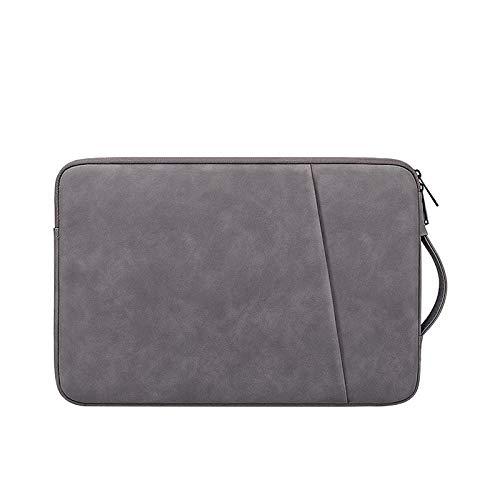 Práctico Bolso de Laptop Impermeable de Cuero de PU 13.3 14 15.6 Pulgadas Funda de Manga de la Mano para MacBook 13 Pulgadas Air Pro Mujeres Hombres (Color : Dark Gray, Size : 14 Inch)