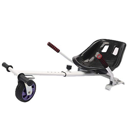 YAHAO Hoverkart Silla para Hoverboard Electrico Hover Kart Ajustable para Patinete Eléctrico Asiento Kart Adaptarse A 6.5 8 10 Pulgadas Hoverboard Go Kart con Asiento para Niños Y Adulto,White