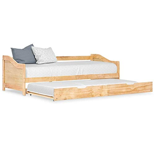 Sofabett mit Ausziehbett 2 in 1 Kojenbett Bett Schlafsofa aus Kiefernholz mit Bettkasten 90x200 cm Modernes Einzelbett Gästebett Ausziehbar Schlafsofa 2 Sitzer