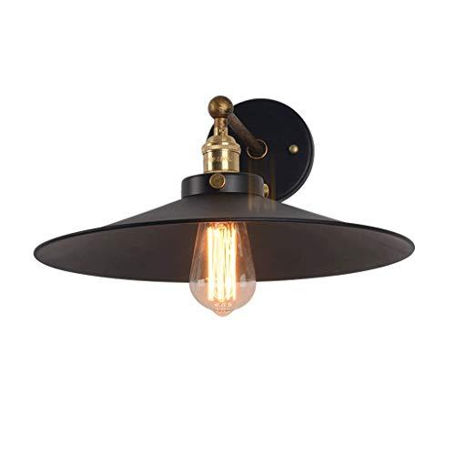 Simple Noir Parapluie Applique Fer Forgé Rétro Salon Chambre Lampe de Lecture Noir Mur Lumière LED Source de Lumière (taille : Small)