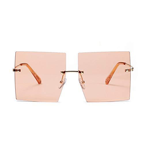Sonnenbrille Übergroße Quadratische Sonnenbrille Damenmode Flat Top Schwarz Klare Linse Herren Shade Mirror-C5