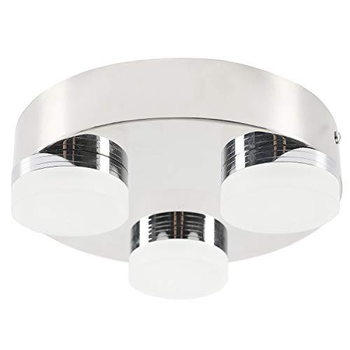 Facon 8-Inch LED Ceiling Dome Light Fixture Decorative RV Flush Mount Lamp, 3 Round LED Lights with Acrylic Lens, 12V DC Interior Light for RV Motorhome Trailer Camper