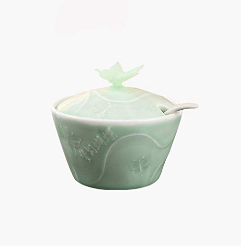 ANXIANG Spice jar seasoning box ceramic kitchen seasoning container cruet spice jar spice jar pot sugar bowl seasoning rack trays salt pepper shaker lid package has tablespoons (Color : Green)