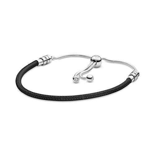 Pandora Damen Leder-Schiebearmband Sterling Silber Cubic Zirkonia 597225CBK-2
