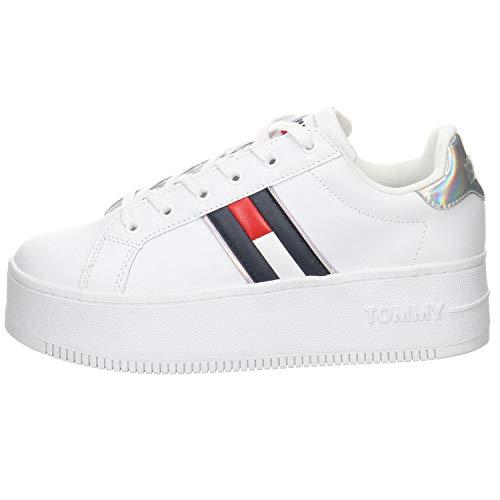 Tommy Jeans Iridescent Iconic Sneaker, Zapatilla Mujer, Blanco, 37 EU