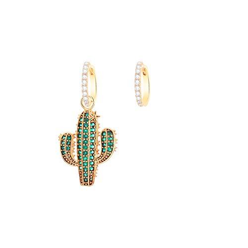 Los pendientes de cactus, con incrustaciones de cristal de circonita cúbica, material antialérgico, se pueden utilizar como regalo de cumpleaños para niñas o amigos.