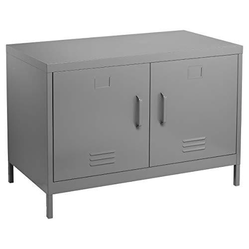 Mobile console buffet basso uso credenza 2 porte - Spirito industriale, atelier, loft - Colore: GRIGIO