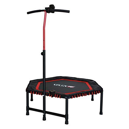 AsVIVA Fitness Trampolin (inkl. Computer, Pulsgurt + Handyhalterung), 3-Fach höhenverstellbarer Griff, Max. bis 120kg Nutzergewicht, leise + gelenkschonend, Indoor + Outdoor Trampolin