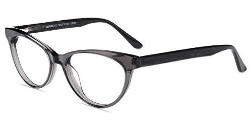Firmoo Blaulichtfilter Brille Entspiegelt ohne Sehstärke Damen, Anti Blaulicht Computer Brille Cateye, Antimüdigkeit UV Bildschirme Schutzbrille Grau mit Federschanier, Glasbreite 53mm