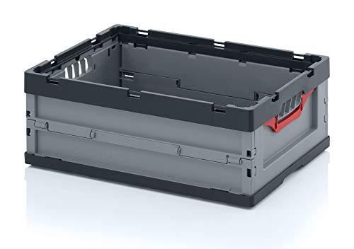 2er Set Profi-Faltbox FB 64/22 von Auer | 46 Liter, 60x40x22cm | Faltbox stapelbar | Stapelbehälter Kunststoff | Aufbewahrungskiste Transportbox Lagerbox Wohnmobilbox Eurobehälter Kunststoffbox