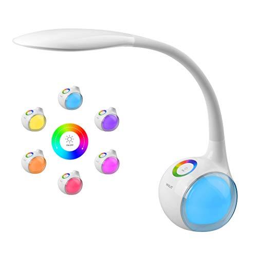 WILIT T3 5W Dimmbare Kinder Schreibtischlampe 34 LED Nachttischlampe Schwanenhals mit Touchfeld, Tischleuchte mit 256 Farblicht und 3...