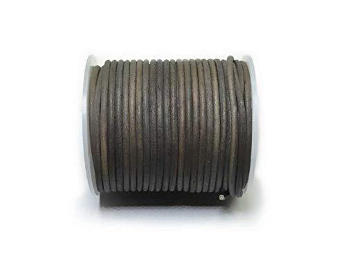 Lederband 3mm rund Taupe gewischt - Meterware