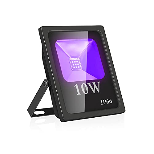 UV Led Luz de Inundación,Eleganted Impermeable IP66 Blacklights Luces Negra 10W Lámpara Led para Fiesta Art Pintura Centro de exposiciones Pescar Acuario