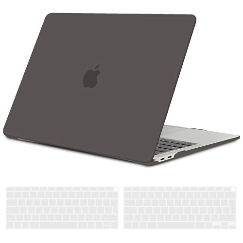 TECOOL MacBook Air 13 inch Case Cover 2020 2019 2018 (Model: A2337 M1/A2179/A1932), Plastic Hard Shell Protective Cover Case and EU Keyboard Cover for Apple MacBook Air 13.3 Retina Touch ID - Grey