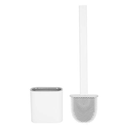 Soapow Escobilla de inodoro con mango largo con soporte para baño, herramienta de limpieza para el hogar (blanco)