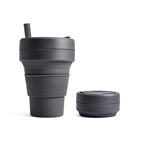 Stojo Faltbarer Kaffeebecher | Wiederverwendbarer To Go Reisebecher mit Strohhalm – Carbon Grau, 473 ml