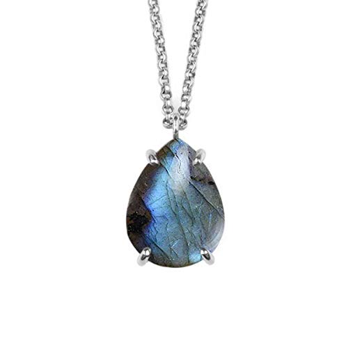 JewelryGift NaturalLabradorite Pendant With Chain Pear Cabochon Gemstone Multi Color 925 Sterling-silver Beautiful Pendant For Girls and Womens
