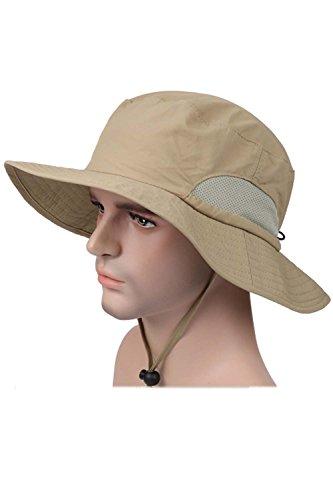Vococal - Breiter Krempe Fischerhüte - Sonnenschutz UPF 50 + Sonnenhüte - Unisex Erwachsene Eimer Hüte Cap mit Einstellbarer Kinn Cord, Khaki