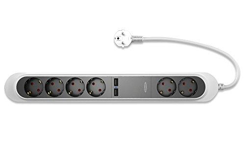 ednet 6-voudige stekkerdoos met 2 x USB-poorten (2A), 1,5 m SCHUKO, GS, VDE, wit, vlamvertragend, 230 V-50 Hz