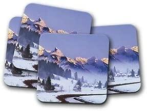 JIANCAICHEN 4 Set - Beautiful Mountain Coaster - Switzerland Einsiedelnt Winter Gift