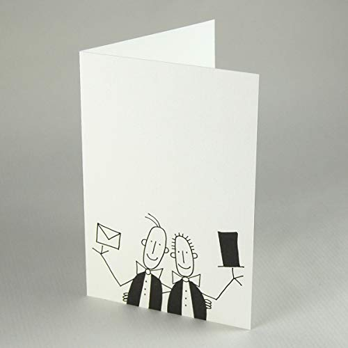zwei Männer mit Fliege, Zylinder und Brief - witzige Hochzeitskarte für schwule Männer, Klappkarte inkl. rotem Umschlag, Zeichnung von Franz Basdera