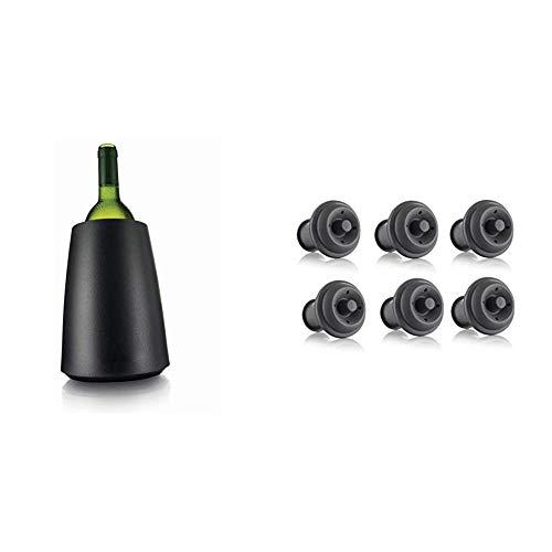 Vacu Vin Rapid Ice Elegant Wine Cooler - Black & Vacu Vin 6 Piece Stopper for Wine, Grey)