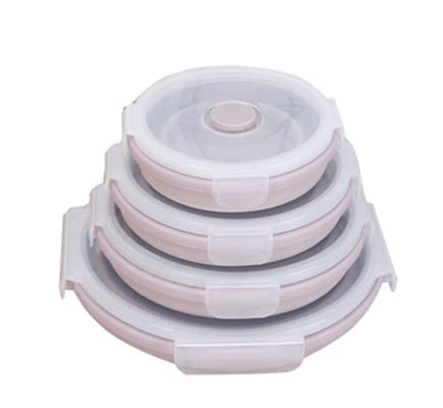 reshare - Set of 4 Foldable Silicone Food Containers for Microwave and Refrigerator 350 ml 550 ml 800 ml 1200 ml – Pink
