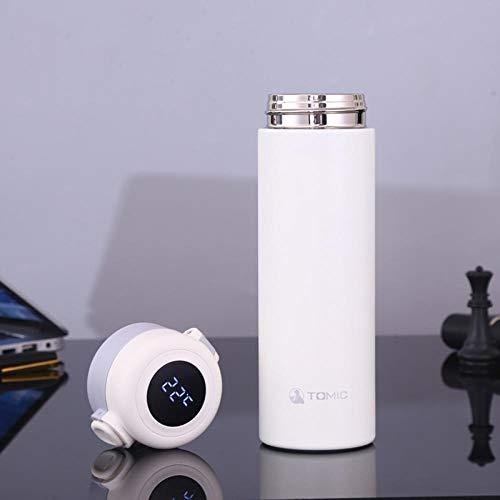 Jusemao Botella de agua aislada de acero inoxidable con pantalla led de temperatura de rebote tapa botella de agua 500ml-blanco_500ml