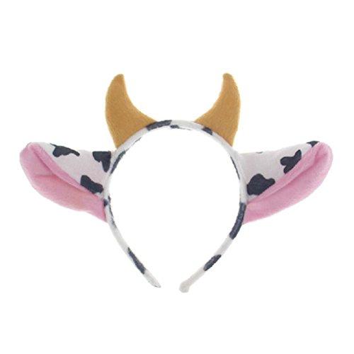 Toyvian Diadema de Vaca con Orejas y Cuernos Accesorios de Disfraces de Vaca Artculos para Fiestas Infantiles