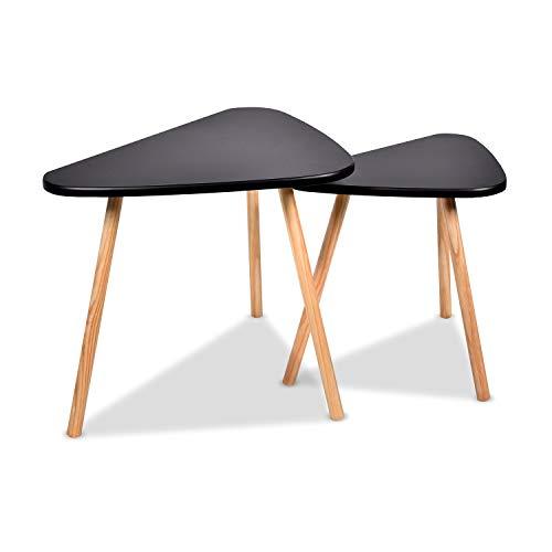 FRANKYSTAR Tavolino da caffè con Design Contemporaneo Stile scandinavo - Set 2 Tavoli da Salotto sovrapponibili con Gambe in Legno di Pino e Superficie in masonite AntiGraffio. (Set Nero)
