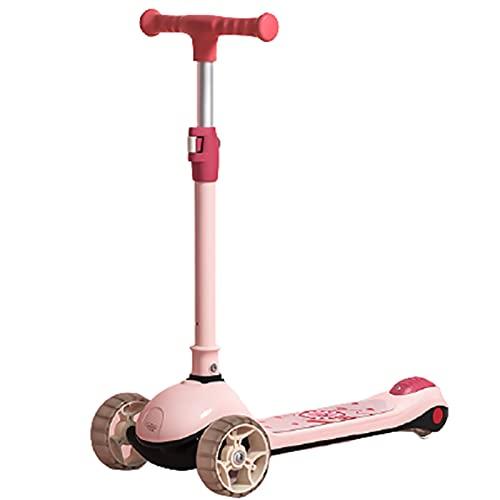 patinetes Scooter Infantil, Dirección Flexible, Equilibrio para Niños De Ejercicio, Ajuste De Altura De La Manija De 4 Engranajes para Diferentes Edades De Bebé(Color:Rosado)
