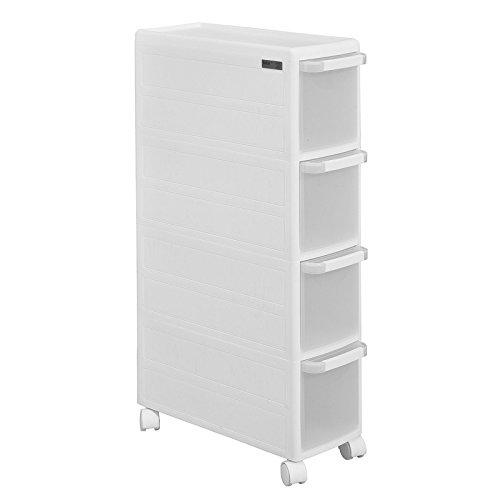 SoBuy® FRG41-W wózek wnękowy z czterema szufladami i 2 blatami kuchennymi, kolor biały, szerokość: 18 cm
