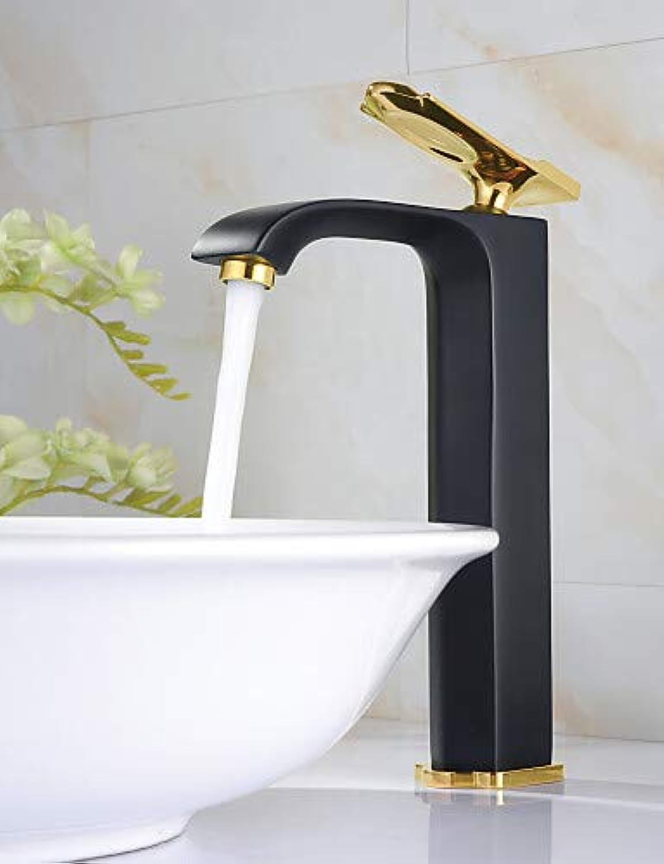 LPZSQ Tap Antique Painting Chrome Brass One Hole Single Handle Bathroom Sink Faucet, black+golden  542