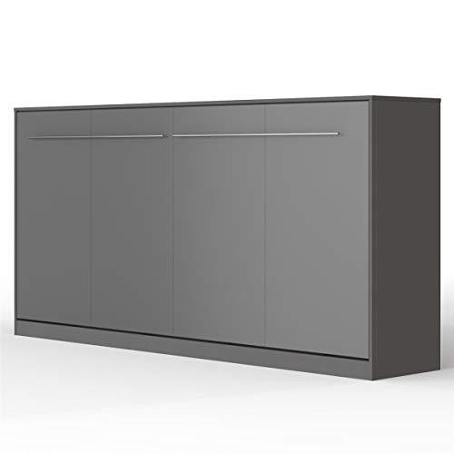 SMARTBett Standard 160x200cm Vertikal Weiss/Weiss Hochglanzfront Komfort Lattenrost | ausklappbares Wandbett, Wandklappbett fürs Gästezimmer, Büro, Wohnzimmer, Schlafzimmer