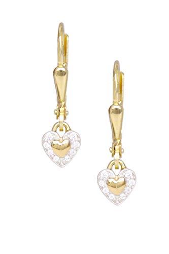MyGold Hart oorbellen oorbellen geelgoud 333 goud (8 karaat) met steen zirkonia 20mm x 4mm gouden oorringen hartje hartvorm Patty O-07376-G301-CZC-whi