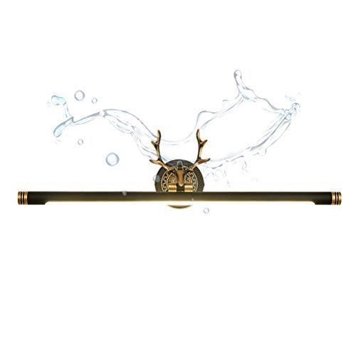 ACHNC LED Spiegelleuchte Vintage, Spiegellampe Badezimmer Antik Messing Geweih Schminklicht Badlampe Winkel-Einstellbar Wasserdicht Wandleuchte Für Kosmetikspiegel Schminktisch,Schwarz,L76CM/15W